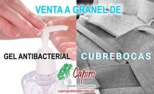 Venta a graner de gel antibacterial y cubrebocas